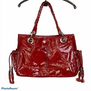 Tasche Red Patent Leather Large Tote Weekender NEW
